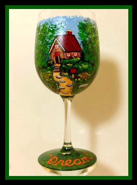 Fantasy Cottage Wine Glass