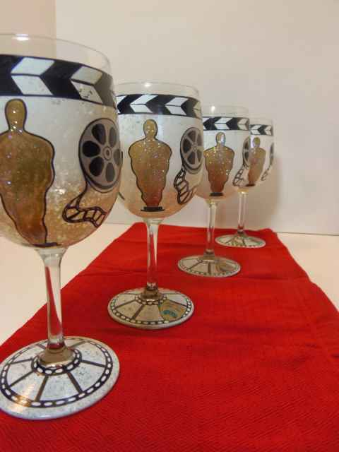 Movie Awards show painted wine glasses