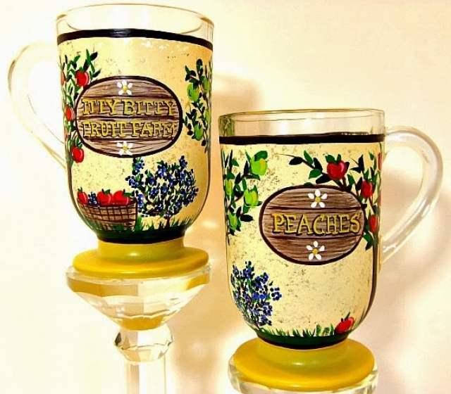 Kudos Kitchen By Renee - Custom Painted Fruit Farm Coffee Mugs
