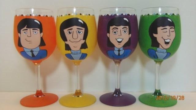 Retro Beatles Painted Wine Glasses - kudoskitchenbyrenee.com