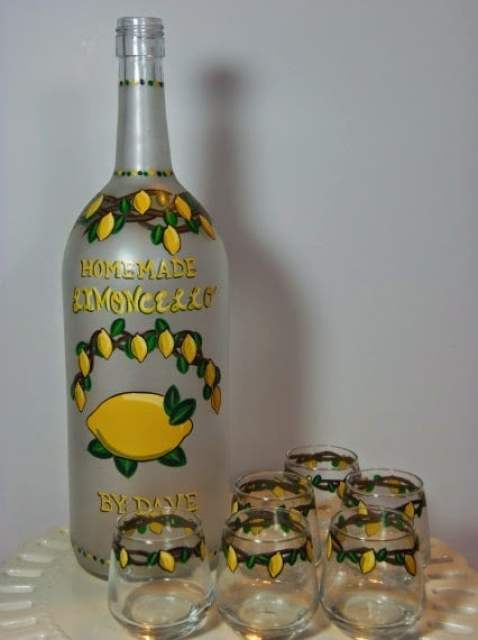 Homemade Limoncello Painted Bottle and glasses via kudoskitchenbyrenee.com