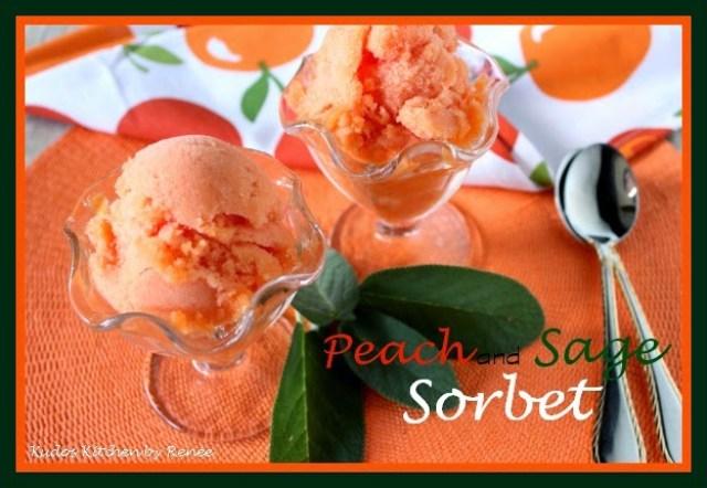 Refreshing Low Sugar Fresh Peach Sorbet with Sage - kudoskitchenbyrenee.com