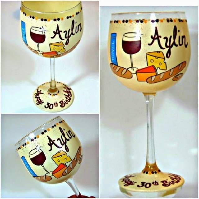 Custom Painted 30th Birthday wine glass with bread and cheese