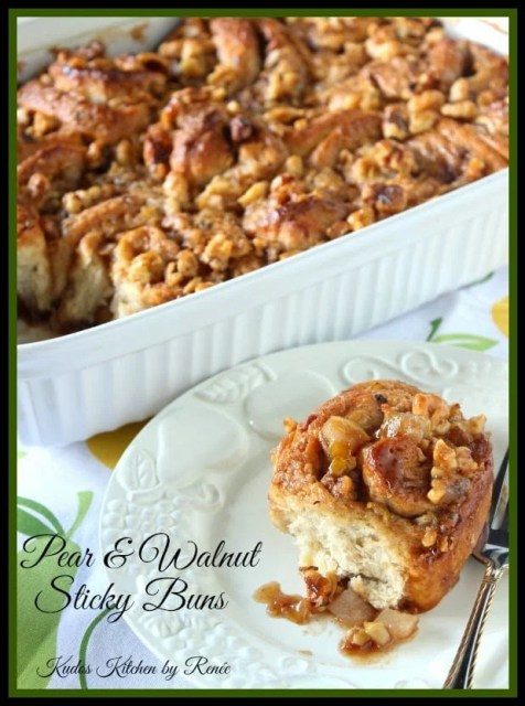 Pear and Walnut Sticky Buns has oatmeal in the dough.