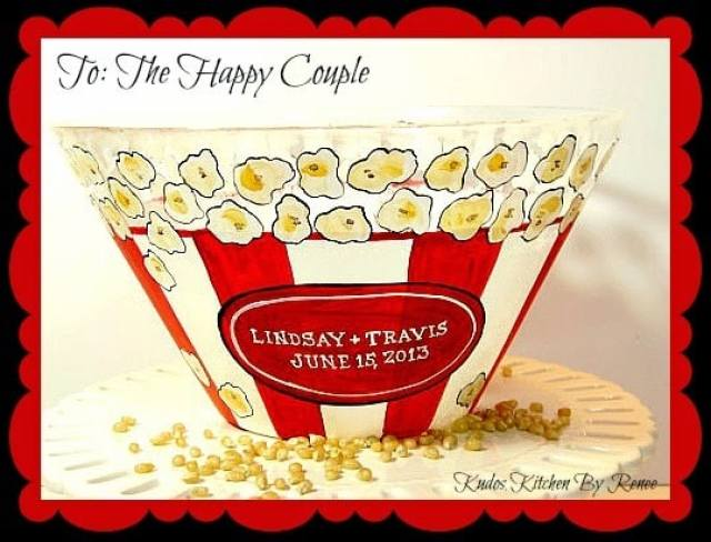 Hand Painted and Personalized Popcorn Bowls / www.kudoskitchenbyrenee.wazala.com