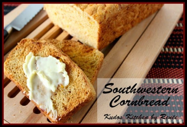 Southwestern Cornbread with jalapenos, corn, cheese and red onion