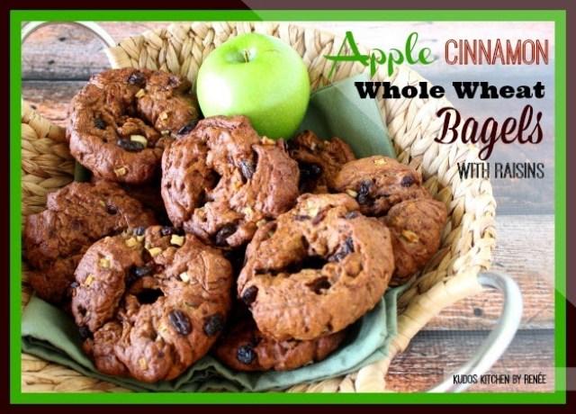 Apple Cinnamon Whole Wheat Bagels with Raisins
