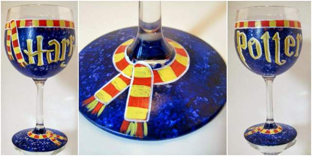 Harry Potter hand painted wine glass.