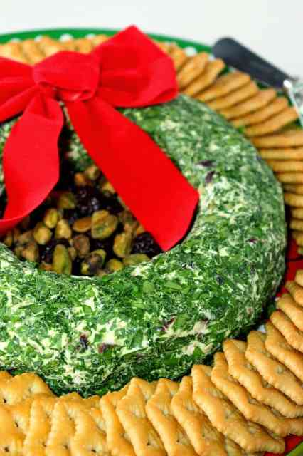 Goat Cheese Christmas Wreath Appetizer with Dried Cherries and Pistachios