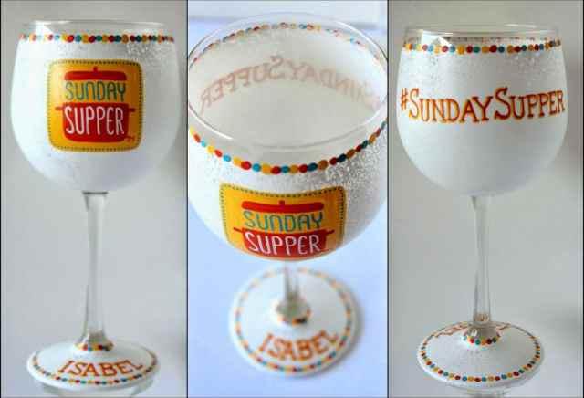 #SundaySupper Personalized Logo painted wine glass