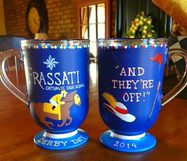 Kentucky Derby Day Painted Coffee Mugs - www.etsy.com/shops/kudoskitchenpaints
