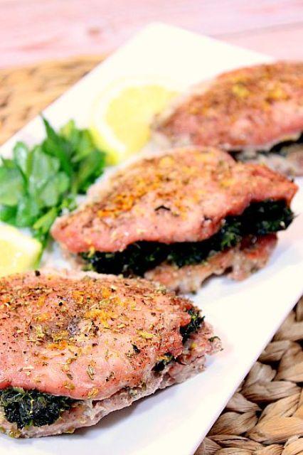 Spinach and Feta Greek Stuffed Pork Chops