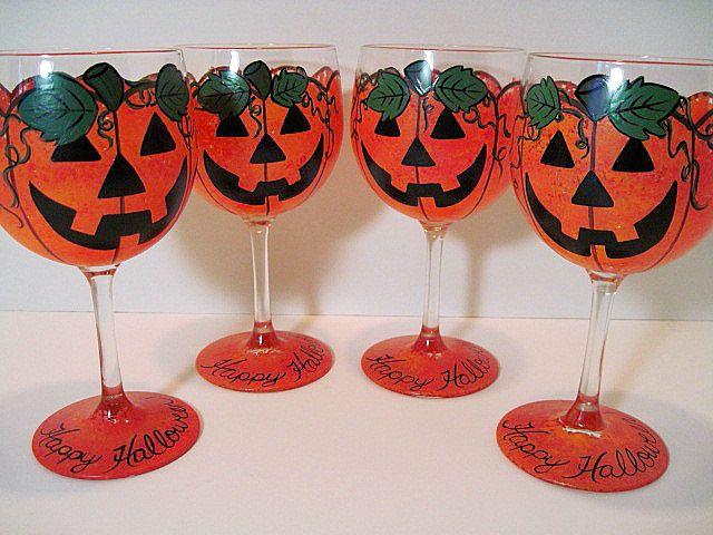 Jack-O-Lantern Painted Wine Glasses
