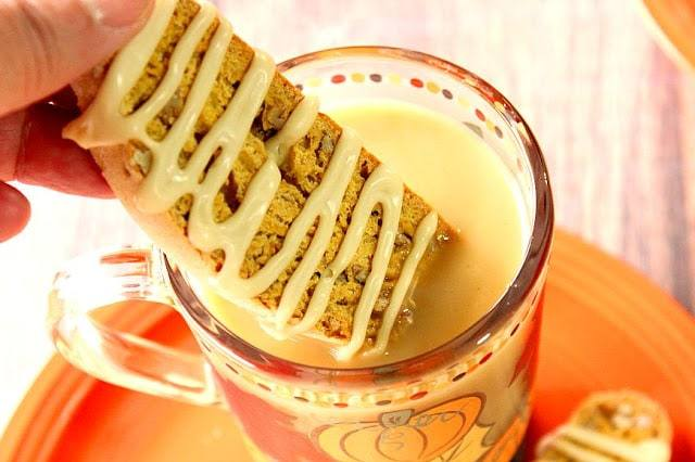 Pumpkin Banana Biscotti with Maple Syrup Glaze