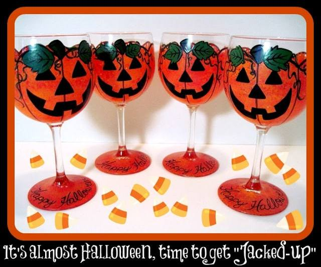 Jack-O-Lantern Painted Wine Glasses