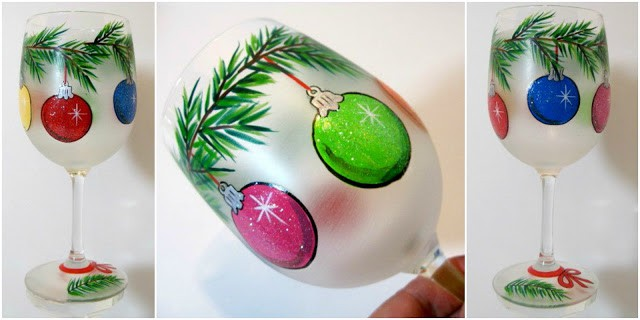 Christmas Ornaments Hand Painted Wine Glass