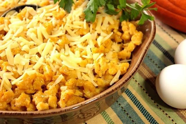 Pumpkin Spaetzle with Gruyere Cheese