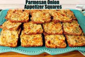 Parmesan Onion Appetizer Squares on a blue plate