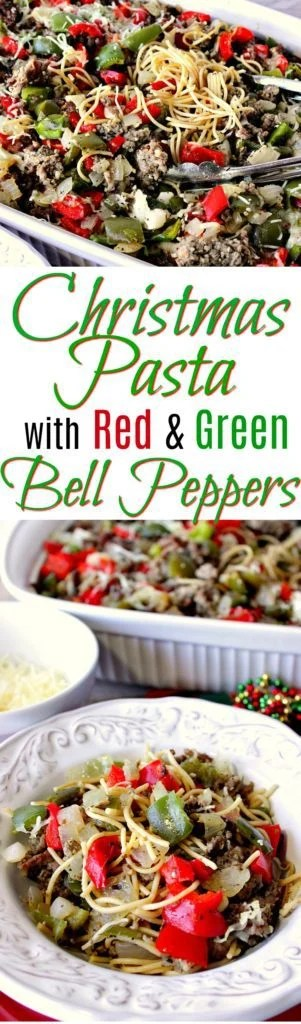 christmas pasta with red green bell peppers kudos kitchen by renee