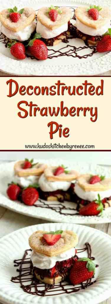 Deconstructed Strawberry Pie with Cinnamon Whipped Cream & Chocolate Ganache Drizzle. - kudoskitchenbyrenee.com