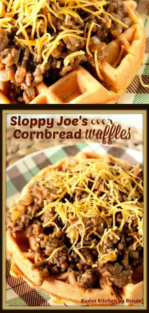 Cornbread Waffles Topped with Homemade Sloppy Joes