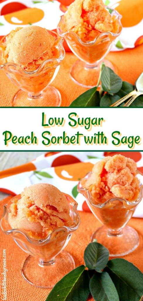 Refreshing Low Sugar Fresh Peach Sorbet with Sage is a flavorful frozen treat with an unexpected hint of garden sage along with luscious summertime peaches. - kudoskitchenbyrenee.com
