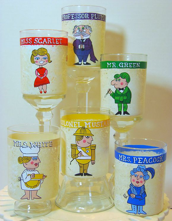 Retro Clue Character painted rocks glasses.
