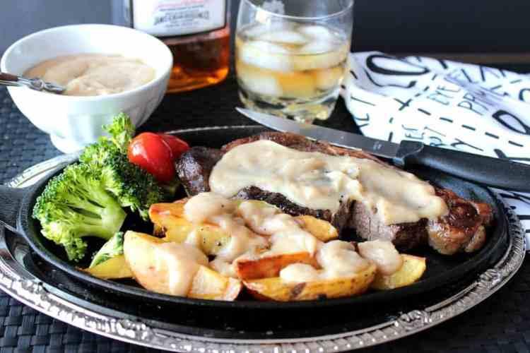 Steak with Bourbon Butter Sauce