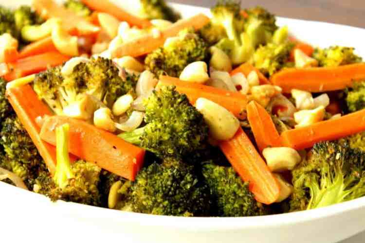 Oven Roasted Carrots Broccoli and Cashews