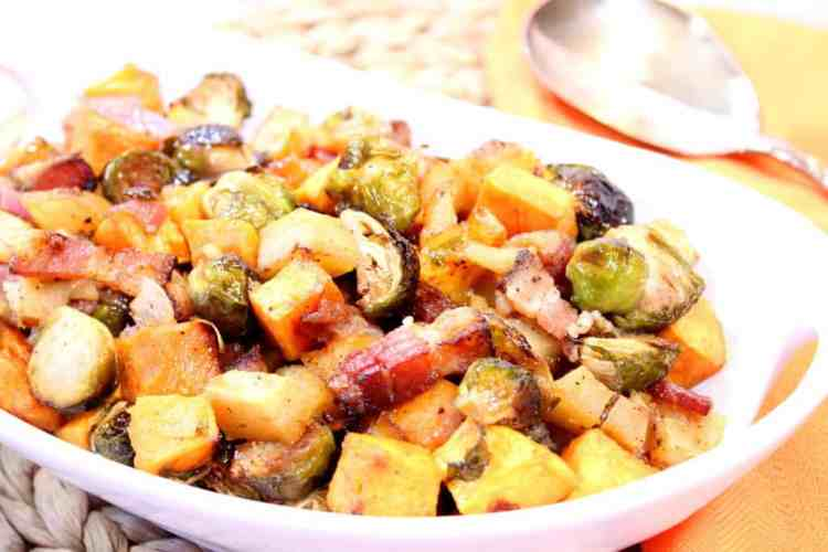 Sweet and Savory Roasted Sweet Potatoes, Brussels Sprouts, and Apples