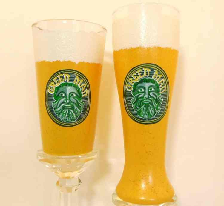 Hand Painted Green Man Beer Glasses - Kudos Kitchen Paints on Etsy