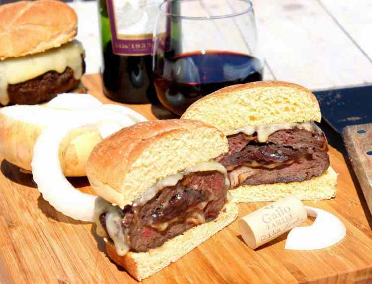 Man Burgers Stuffed with Caramelized Onions and Pinot Noir - Kudos Kitchen by Renee