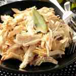 Poached chicken with white wine and bay leaf