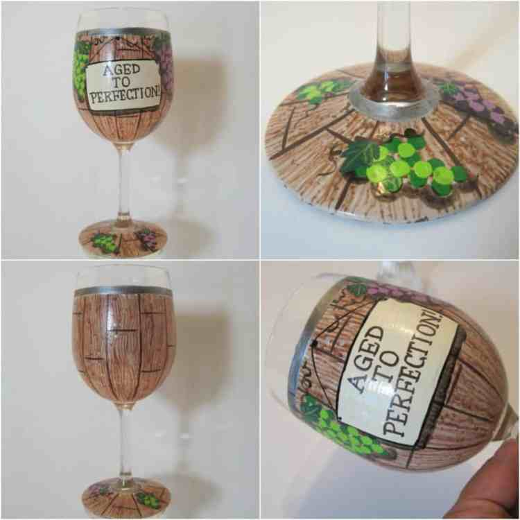 Aged to Perfection Wine Barrel Hand Painted Wine Glass