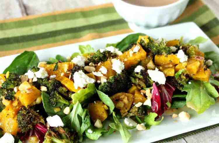 Salad with Roasted Beets, Broccoli and Goat Cheese