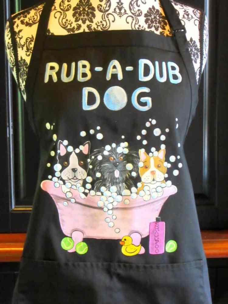 Custom Dog Bath Painted Apron