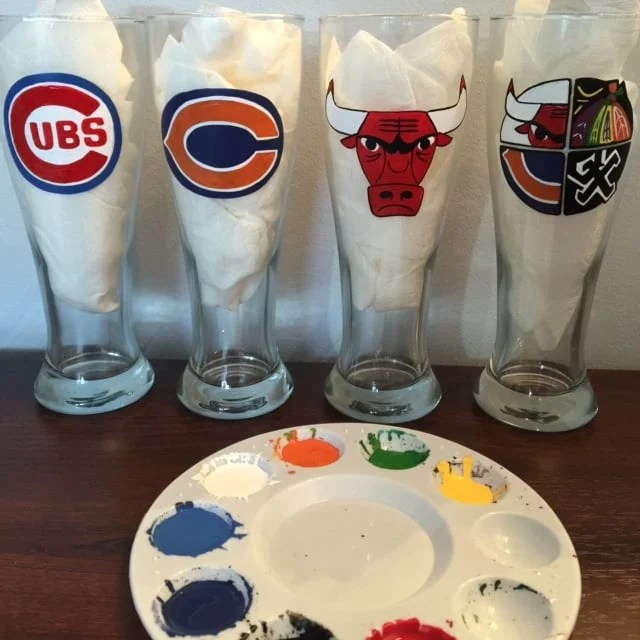 Chicago Sports Teams Hand Painted Beer Glasses