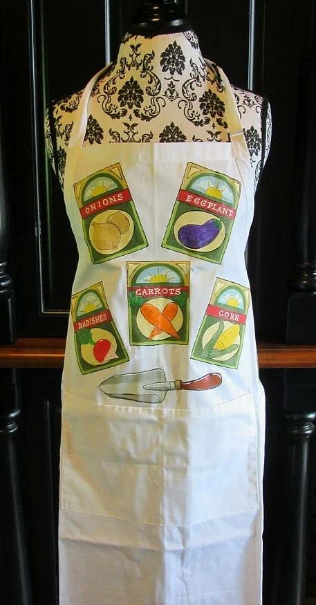 Seed Packet Hand Painted Garden Apron