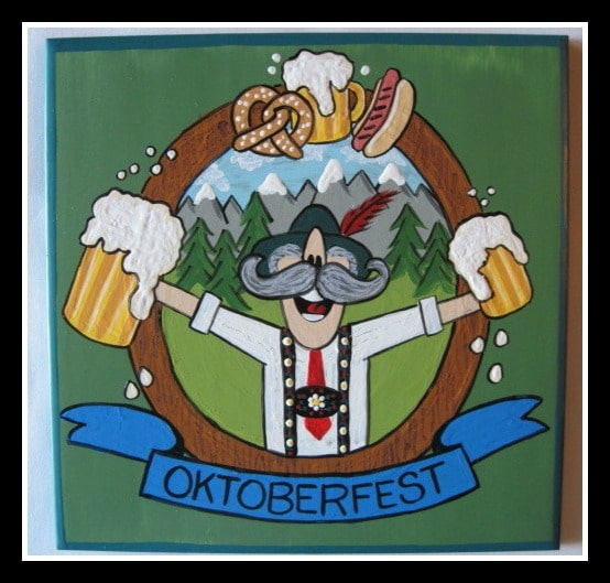 Hand Painted Oktoberfest Ceramic Tile