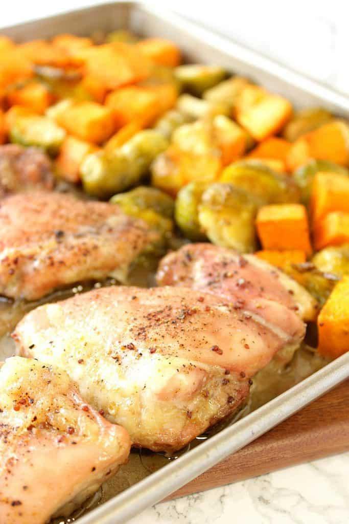 Easy Maple Mustard Chicken Thigh Sheet Pan Supper