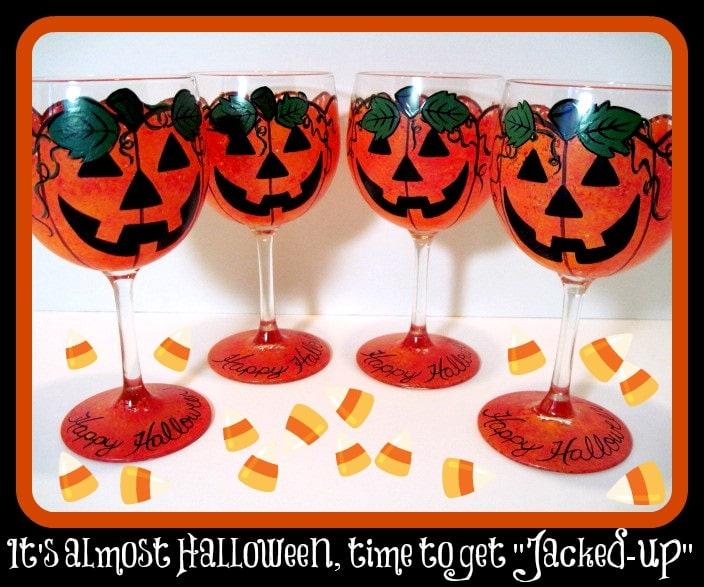 Set of 4 Jack-O-Lantern Wine Glasses