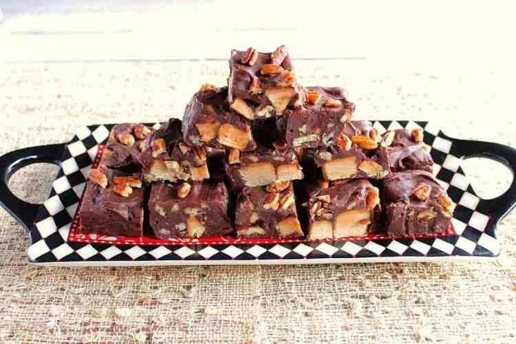 Chocolate Caramel Turtle Fudge
