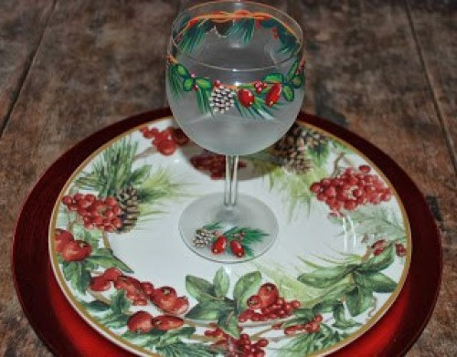 Winter in the Woods Frosted Hand Painted Wine Glasses