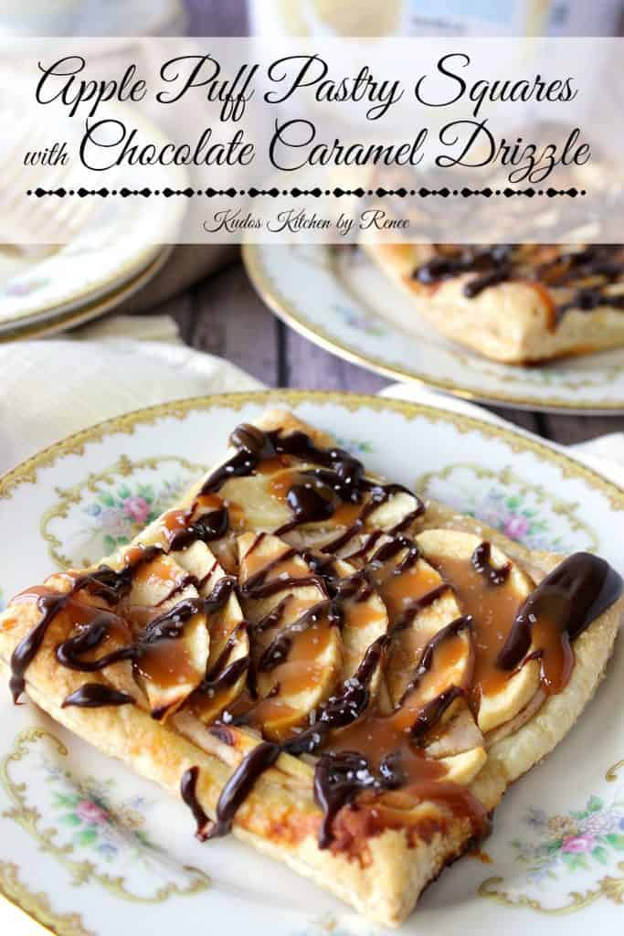 Apple Puff Pastry Squares with Chocolate Drizzle