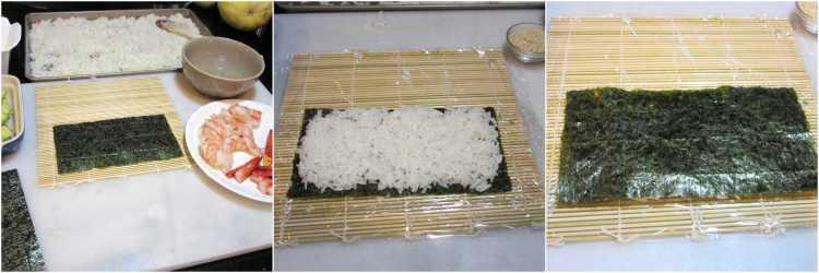 Making homemade sushi rolls.