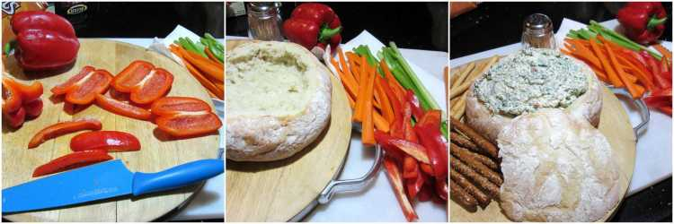Turkey Bread Bowl Appetizer with Creamy Spinach Ranch Dip