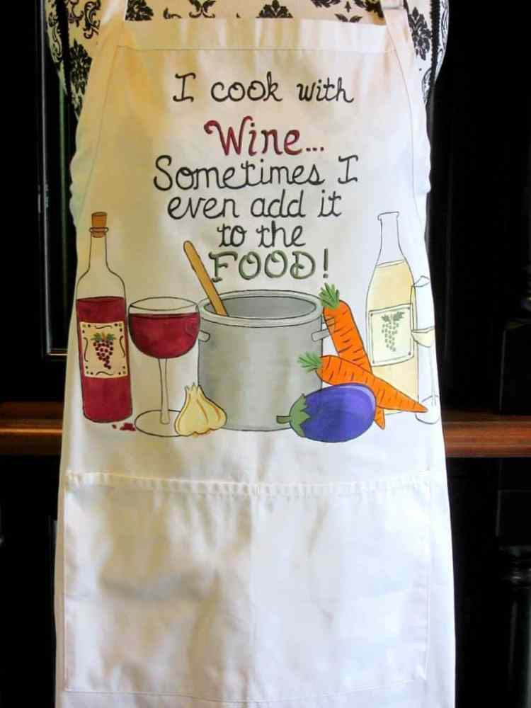 Cooking with Wine Quote Hand Painted Apron