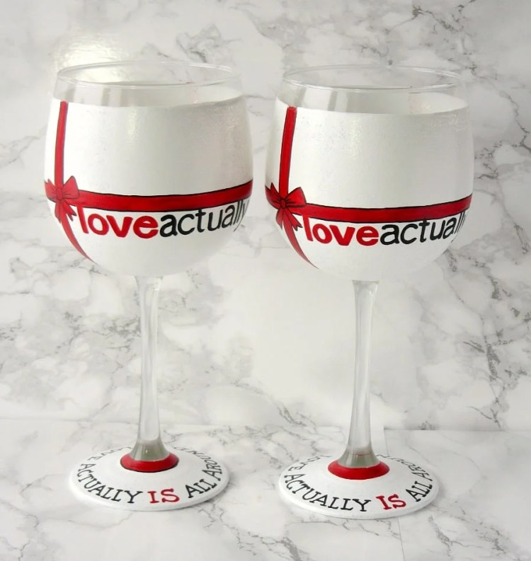 Hand Painted Love Actually wine glass set