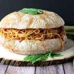 Garlic Bread Stuffed with Spaghetti