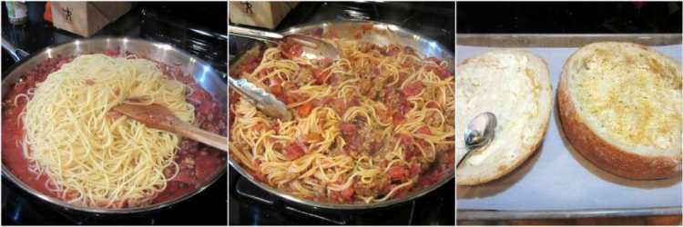 How to make a spaghetti sandwich.